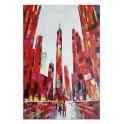 Tableau moderne urbain : La Ville Rouge, H 120 cm