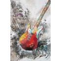 Tableau Design Musique : Guitare Basse, Peinture & Relief, H 120