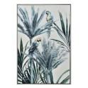 Tableau Jungle XL : Perroquets et Palmes, Encadrement alu, H 120 cm