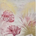 Tableau Jungle : Feuillage exotique, Rose & Or, H 80 cm