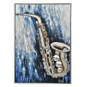 Tableau peint : Saxophone multicolore, hauteur 120 cm