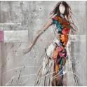 Tableau moderne Femme : Nuit parisienne en couleurs, H 100 cm