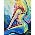 Tableau moderne Femme : Nu multicolore, H 100 cm