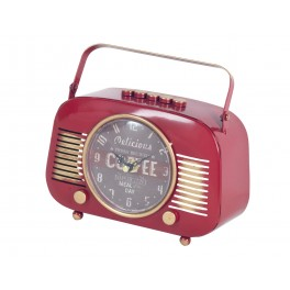 Horloge Industrielle à poser : Mod Poste radio ancien, Rouge, L 21 cm