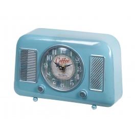 Horloge Industrielle à poser : Mod Poste radio ancien, Bleu, L 25 cm