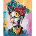 Tableau moderne Femme : Frida Kahlo multicolore, H 100 cm