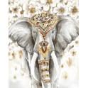 Tableau Eléphant : Trompe l'oeil multicolore H 100 cm