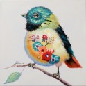 Tableau Peinture Oiseau : Serin Serein, Mod 2, H 40 cm