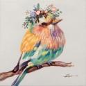 Tableau Peinture Oiseau : Serin Serein, Mod 3, H 40 cm