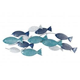 Déco murale mer : Banc de poissons, Camaïeu, Gamme Océanic. L 75 cm