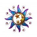 Déco murale Métal : Soleil, Lune, & Etoiles colorés, Diam 40 cm