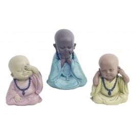 Set de 3 Moines de la Sagesse Assis, Collection Baby Zen, H 8 cm
