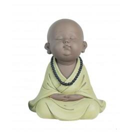 Déco Petit Moine Assis Mod 3, Vert, Collection Baby Zen, H 25 cm