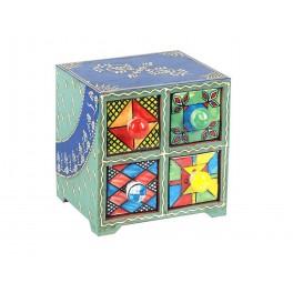 Boite à compartiments : Epicier indien 4 tiroirs, Bleu, H 14 cm
