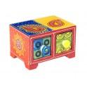 Boite compartiments : Epicier indien 2 tiroirs, Orange, L 14 cm