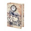 Boite Livre Horloge : Avion & Exploration, H 27 cm