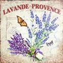 Plaque métal Rétro Provençale Lavande & Papillon, Mod 2, H 30 cm