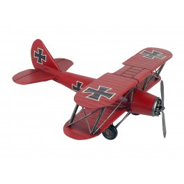 Avion Rétro Fer XL : Biplan Rouge, L 45 cm