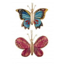 Set 2 papillons à suspendre, Mod 1, H 8 cm