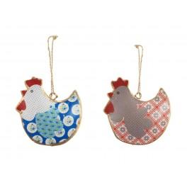 Set 2 poules à suspendre, Mod 1, H 9 cm