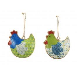 Set 2 poules à suspendre, Mod 2, H 9 cm