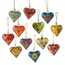 Set 12 Suspensions coeurs peints en métal, H 9 cm