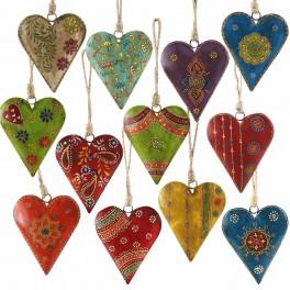 1 coeur peint métal au choix, H 15 cm