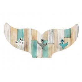 Déco murale & Patère : Silhouette Queue de Baleine, 3 crochets, L 53 cm