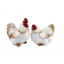 Set Poule et Coq assortis, Mod Rustica, H 10 cm