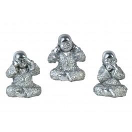 Set de 3 moines de la sagesse assis, Couleur Rouge & Or, H 16 cm