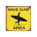 Plaque métal surf : Wave Surf Area, H 30 cm