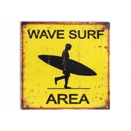 Plaque métal surf : Wave Surf Area, H 30 cm