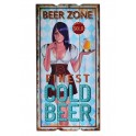 Déco Bière & Pin up : Finest Cold Beer, H 60 cm