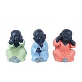 Statuette XL : Les 3 moines de la sagesse assis, Color Line, H 24 cm