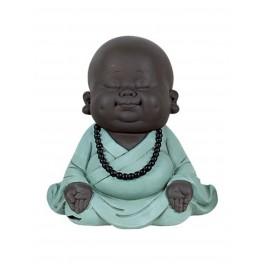 Déco Petit Moine Assis Mod 2, Bleu, Collection Baby Zen, H 20 cm