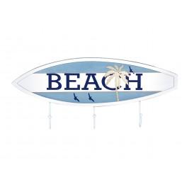 Patères-Portemanteaux Bois : Planche de Surf Beach 3 Crochets, L 40 cm