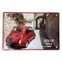 Plaque Métal 3D : La Fiat 500 Rouge Dolce Vita, L 30 x 20 cm