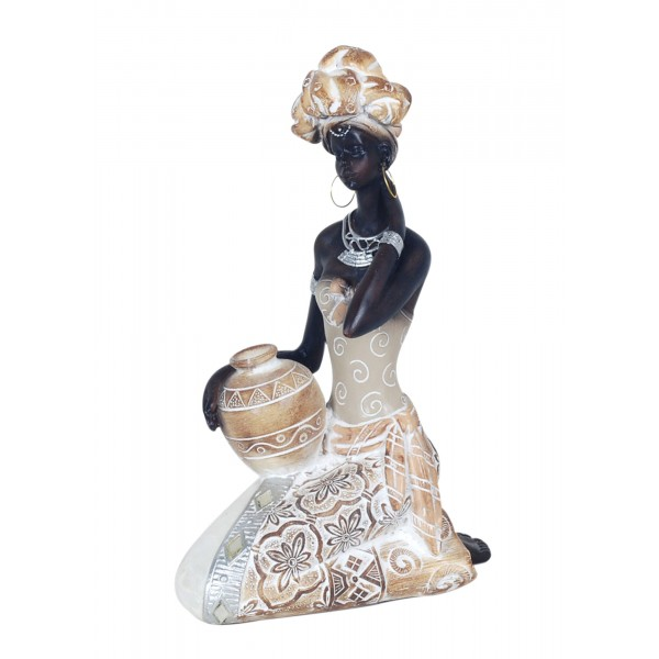 Statuette Africaine Assise Coll Taka H 23 Cm