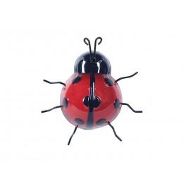 Déco murale métal : Mini Coccinelle Rouge et Noir, H 9 cm
