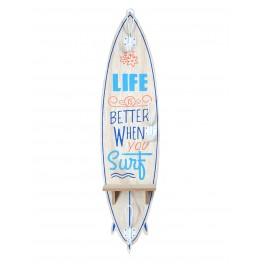 Planche de Surf, Etagère & Patère : Surf, Life & Beach, H 80 cm