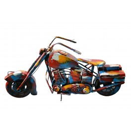 Sculpture Musique Fer : Moto Chopper, Finition Multicolore, H 62 cm