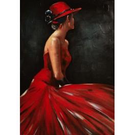 Tableau Peinture Femme : Elegance en Robe Rouge, H 100 cm
