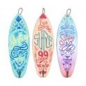 Set 3 Planches de Surf et Patères Murales Colorées, H 30 cm