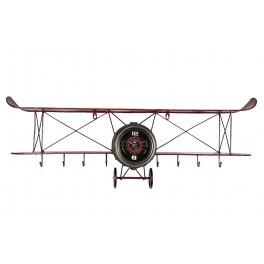 Déco Industrielle Murale : Horloge et Portemanteau Avion Biplan, L 95 cm