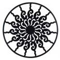 Déco murale fer : Soleil Stylisé dans Cercle Métal, Noir, H 80 cm