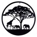 Déco murale fer : Animaux et Savane Africaine, Noir, H 60 cm