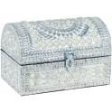 Boite à Bijoux et Coffre en Aluminium avec Perles Métalliques Nacrées, L 26 cm
