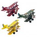 Set 3 Avions miniatures en Métal, Rouge, Vert Kaki et Jaune, L16