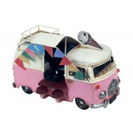 Van Combi Miniature en Fer, Modèle Camion à Glaces et Accessoires, Rose, L 20 cm