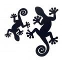 Silhouettes murales en Métal. Set de 2 geckos noirs : deux tailles différentes.